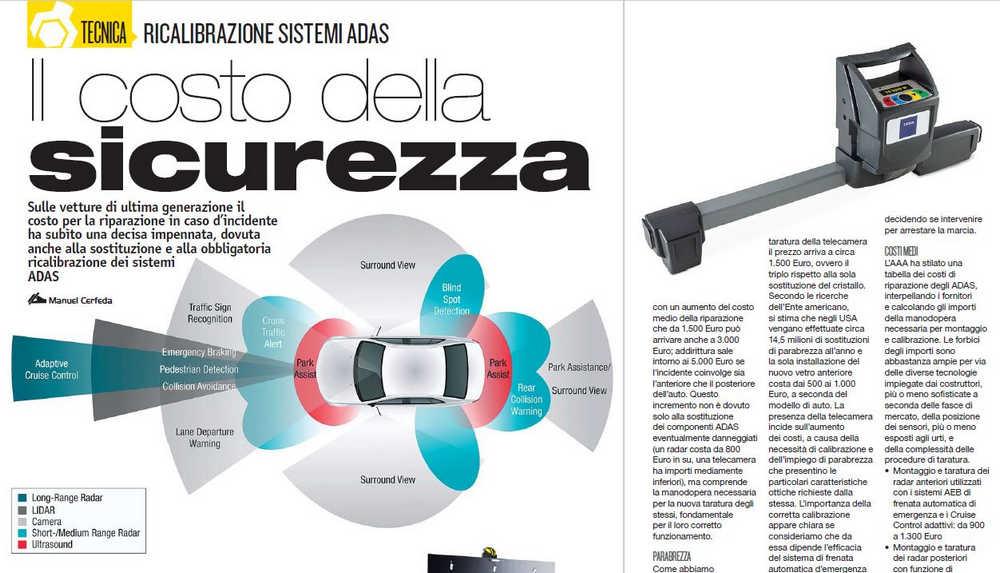 magazine ELABORARE di marzo 2020 con articolo approfondito sui costi per la riparazioni di auto con sistemi ADAS