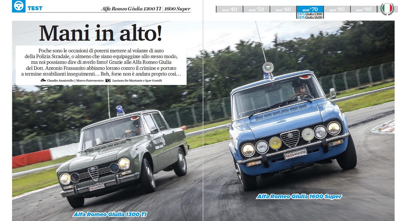 Test in pista Alfa Romeo Giulia 1300 TI e 1600 Super Polizia su Elaborare Classic 15